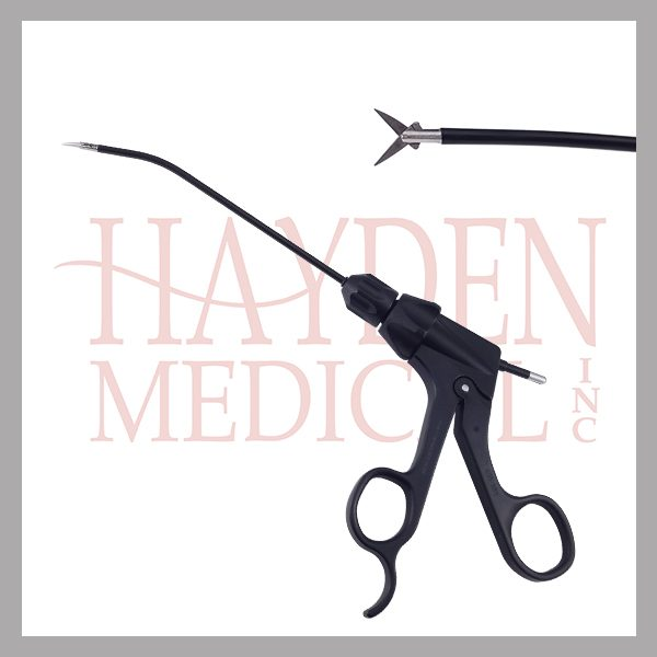 Endoplastic Micro Metzenbaum Curved Scissors, 3mm diameter, curved shaft, rotating, insulated, detachable carbon fiber handle