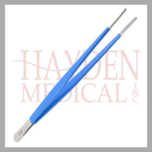 L120-016E-Dressing-Forceps-10-25cm-serrated-NON-CONDUCTIVE-exposed-tip
