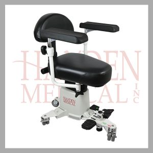 I-s900 Hayden Surgical Stool back support, up/down foot controls, black fabric