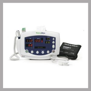 Welch Allyn 53NTO Vital Signs Patient SpO2 - portable, NELLCORE attachment , automatic blood pressure mode, programmable alarms, built-in memory capability and intuitive icons, includes mobile stand. Monitor parameters: Blood Pressure, O2 - SpO2 Nellcor, Blood Pressure - NIBP & Temperature- REFURBISHED with 90 day ltd. warranty